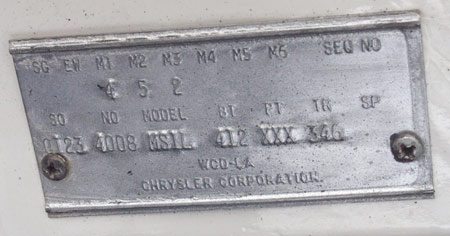1959 Manufacturing plate